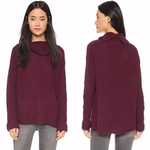 FREE PEOPLE Sidewinder Wool Pullover Berry Large